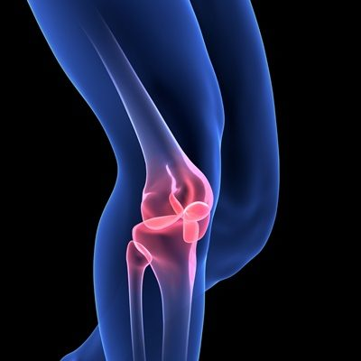 Knee Pain. Blue Human Anatomy Body 3D scan render on black background